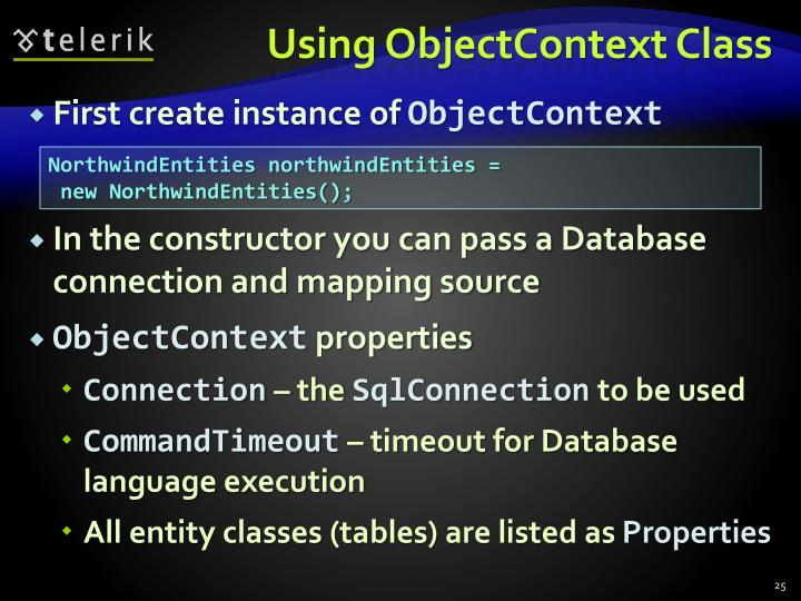 Using ObjectContext Class