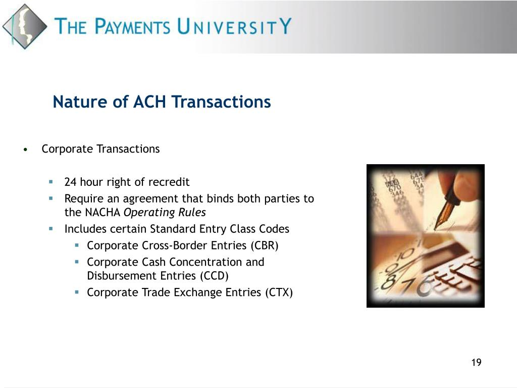 Nature of ACH Transactions