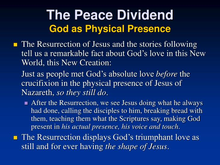 The Peace Dividend