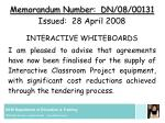 memorandum number dn 08 00131 issued 28 april 2008