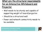 what are the structural requirements for an interactive whiteboard and projector