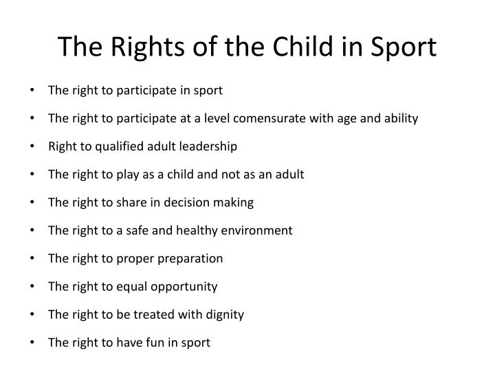 The Rights of the Child in Sport