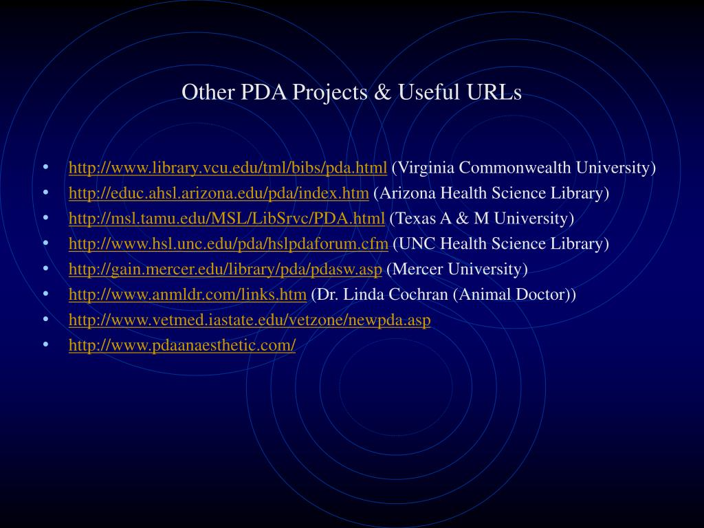 Other PDA Projects & Useful URLs
