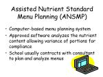 assisted nutrient standard menu planning ansmp