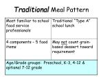 traditional meal pattern