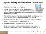 laptop safety and wireless guidelines