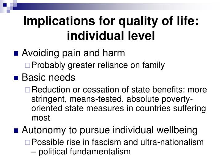 Implications for quality of life: individual level