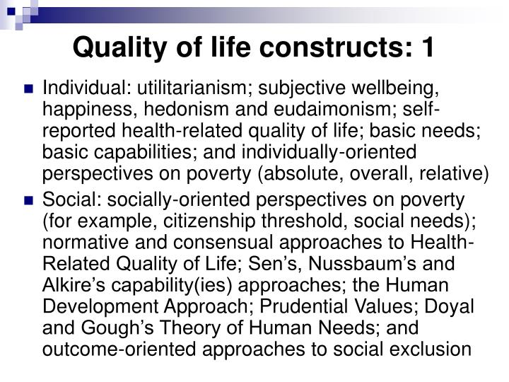 Quality of life constructs: 1