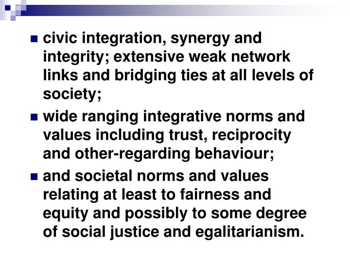 civic integration, synergy and integrity; extensive weak network links and bridging ties at all levels of society;