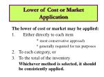 lower of cost or market application