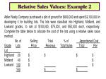 relative sales values example 2
