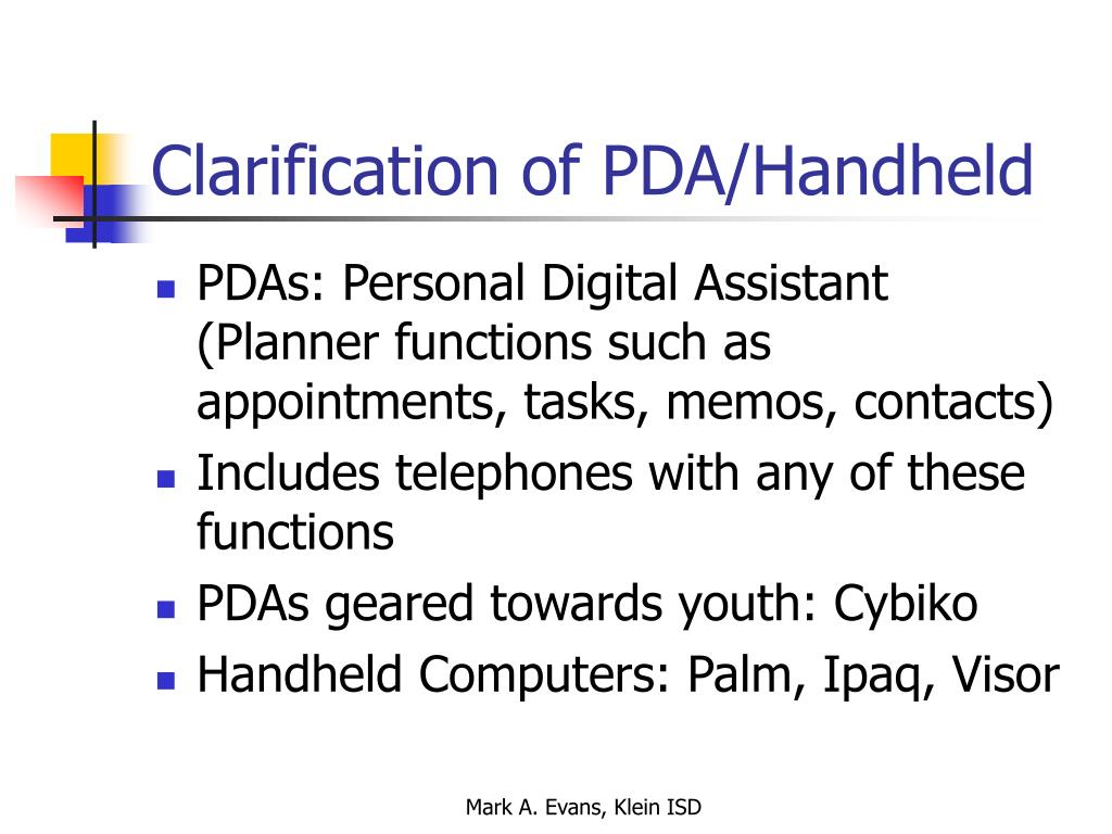 Clarification of PDA/Handheld