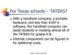for texas schools tateks