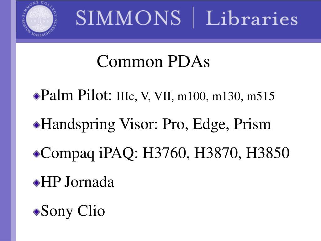 Common PDAs