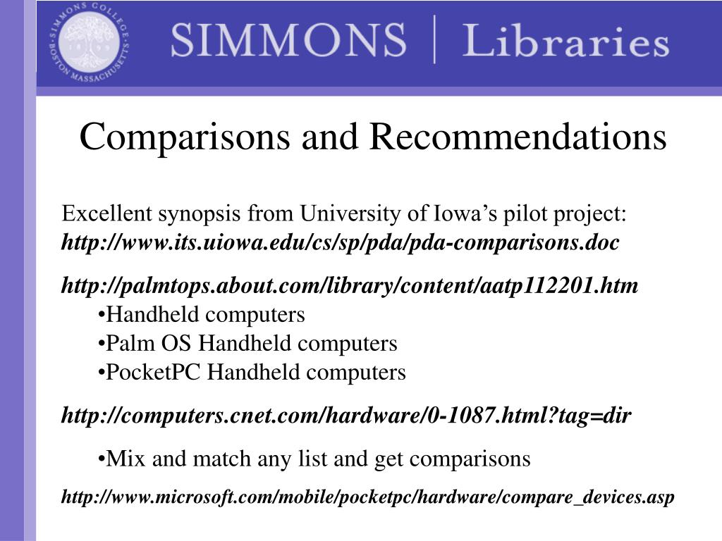 Comparisons and Recommendations