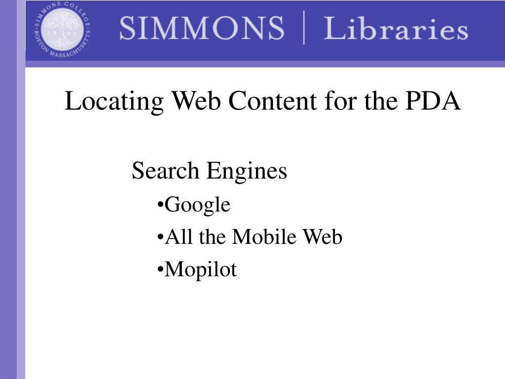 Locating Web Content for the PDA