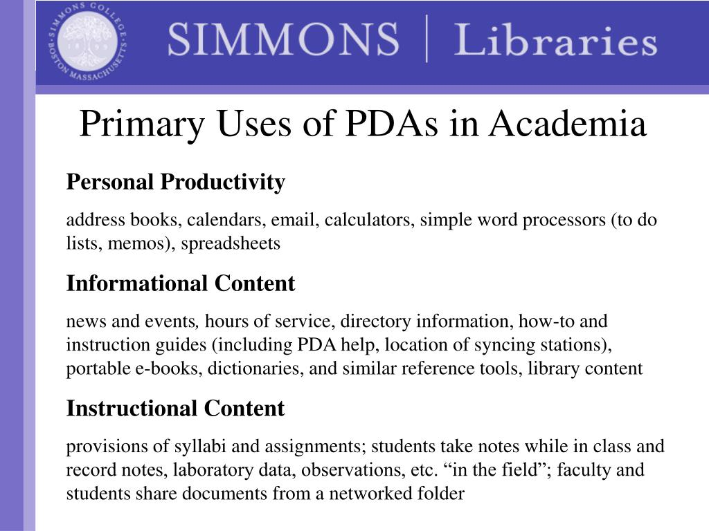 Primary Uses of PDAs in Academia