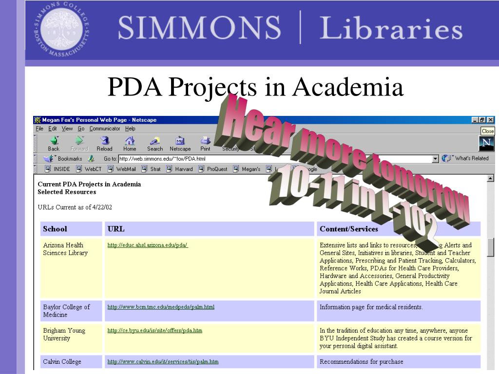 PDA Projects in Academia