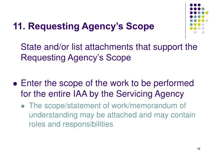 11. Requesting Agency's Scope