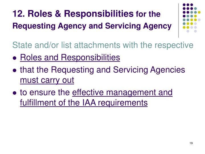12. Roles & Responsibilities