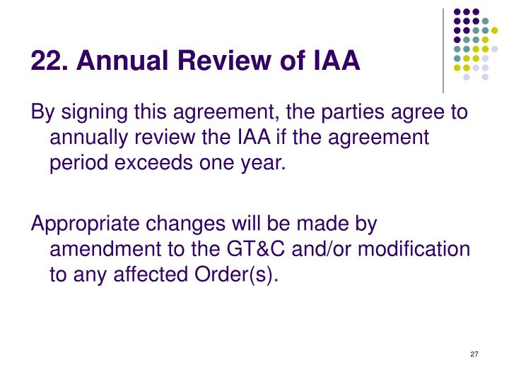 22. Annual Review of IAA
