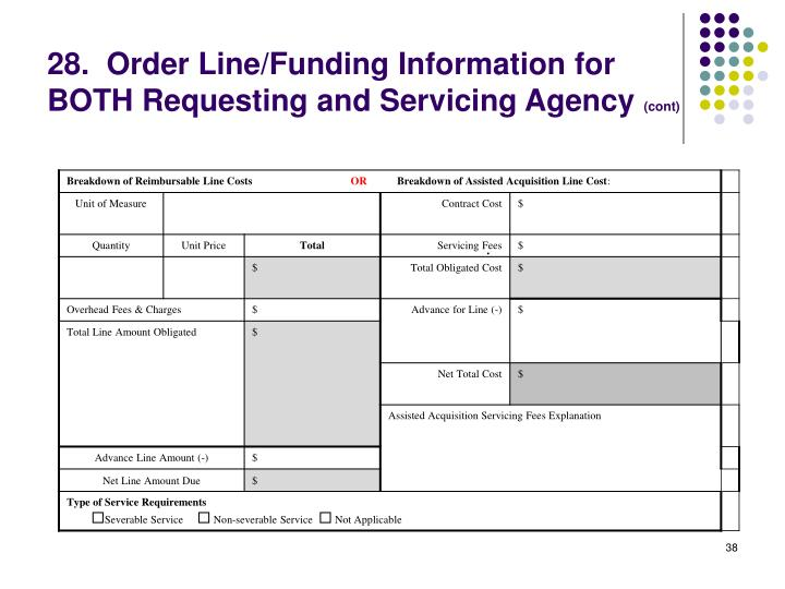 28.  Order Line/Funding Information for BOTH Requesting and Servicing Agency
