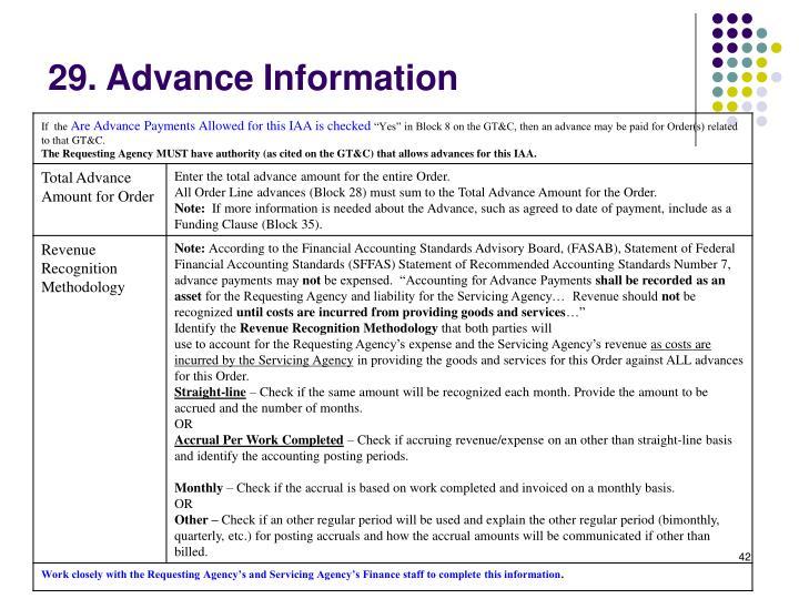 29. Advance Information