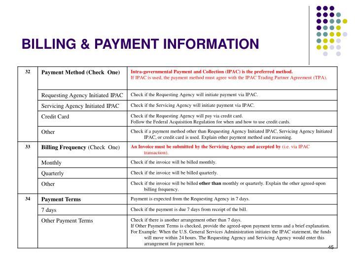 BILLING & PAYMENT INFORMATION