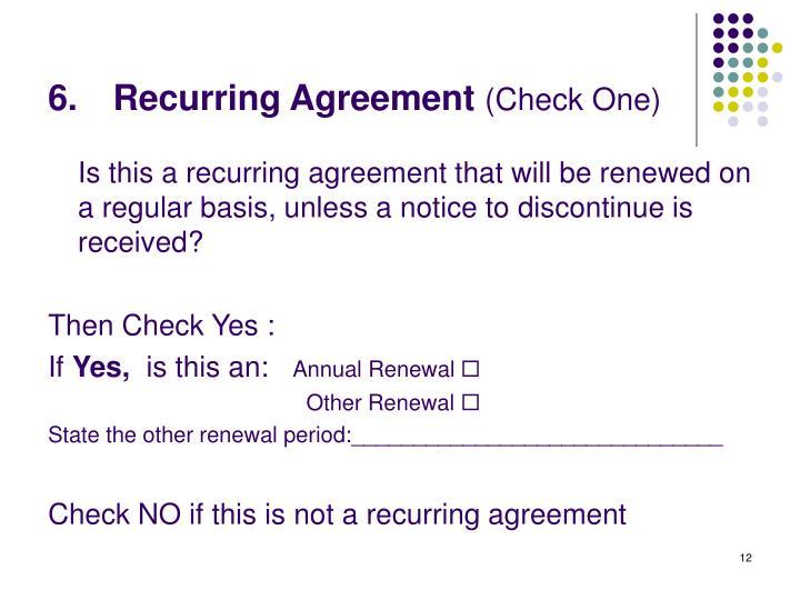 Recurring Agreement