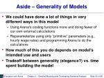 aside generality of models