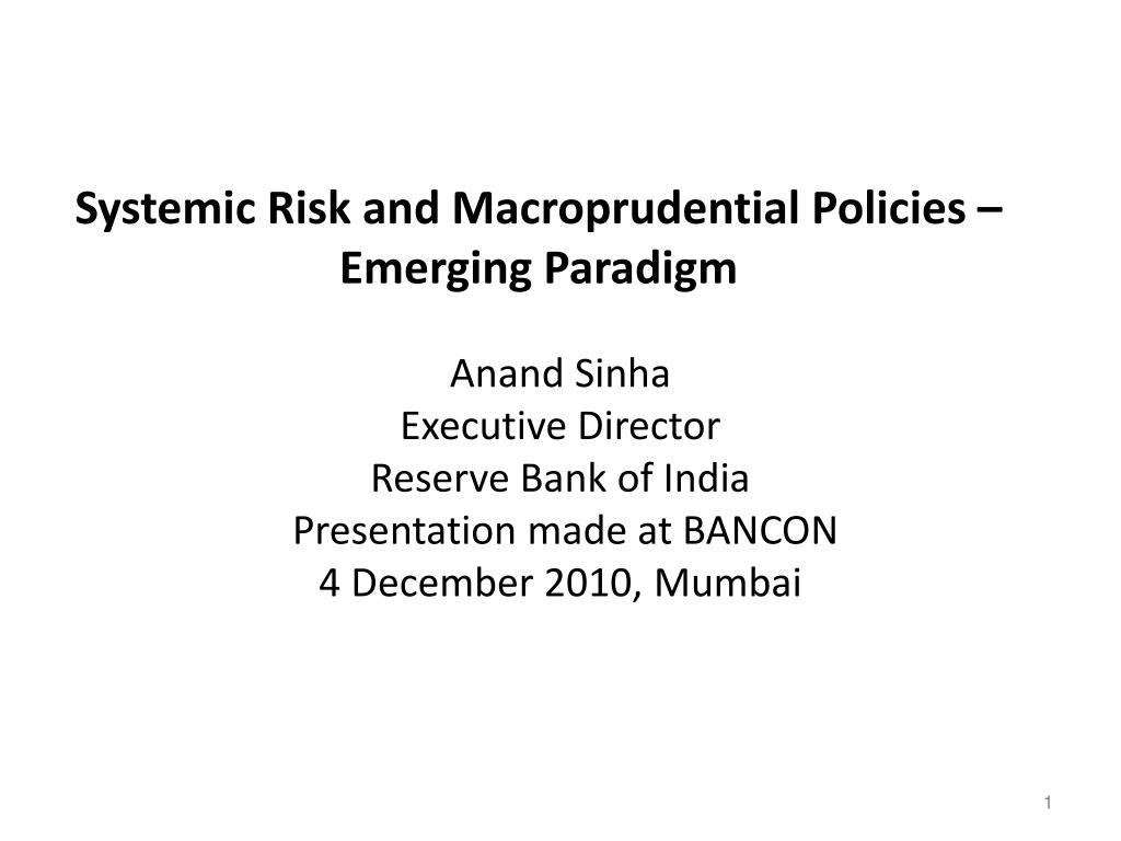 systemic risk and macroprudential policies emerging paradigm l.