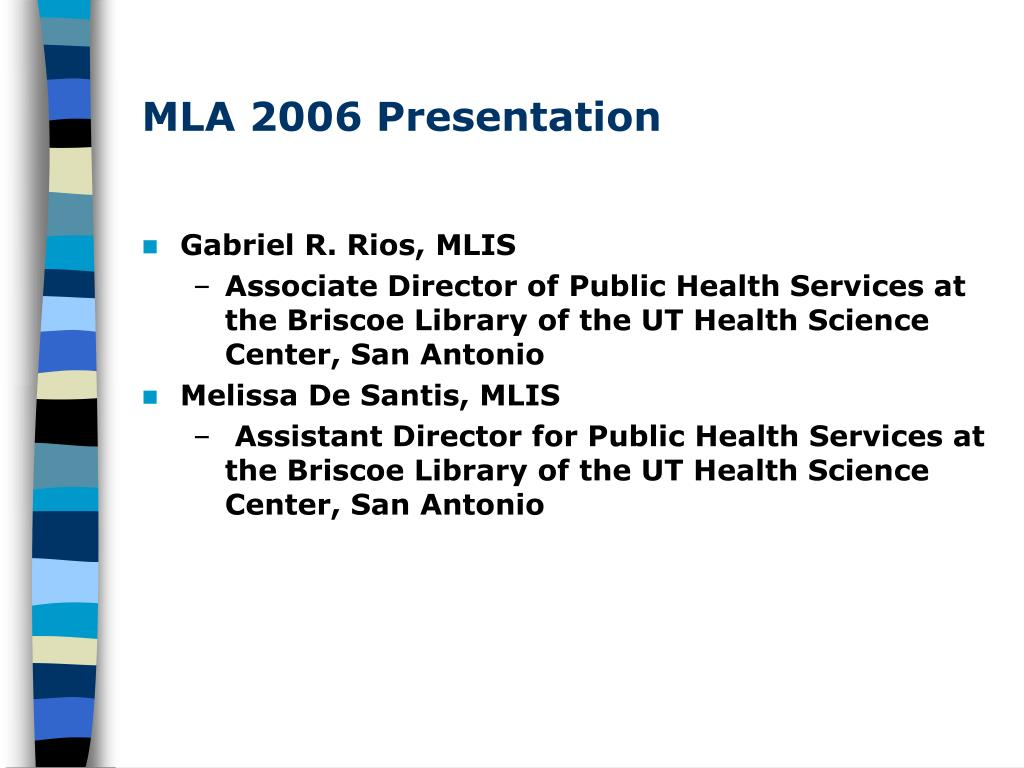 MLA 2006 Presentation