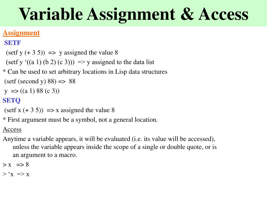 Variable Assignment & Access