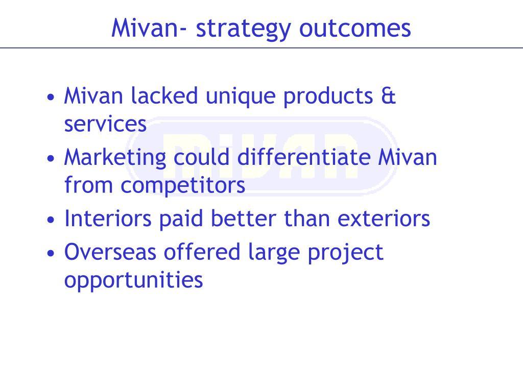 Mivan lacked unique products & services
