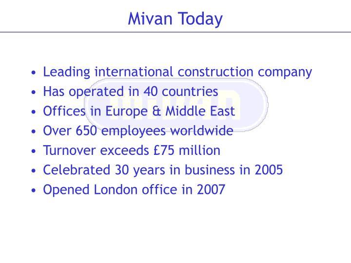 Mivan today