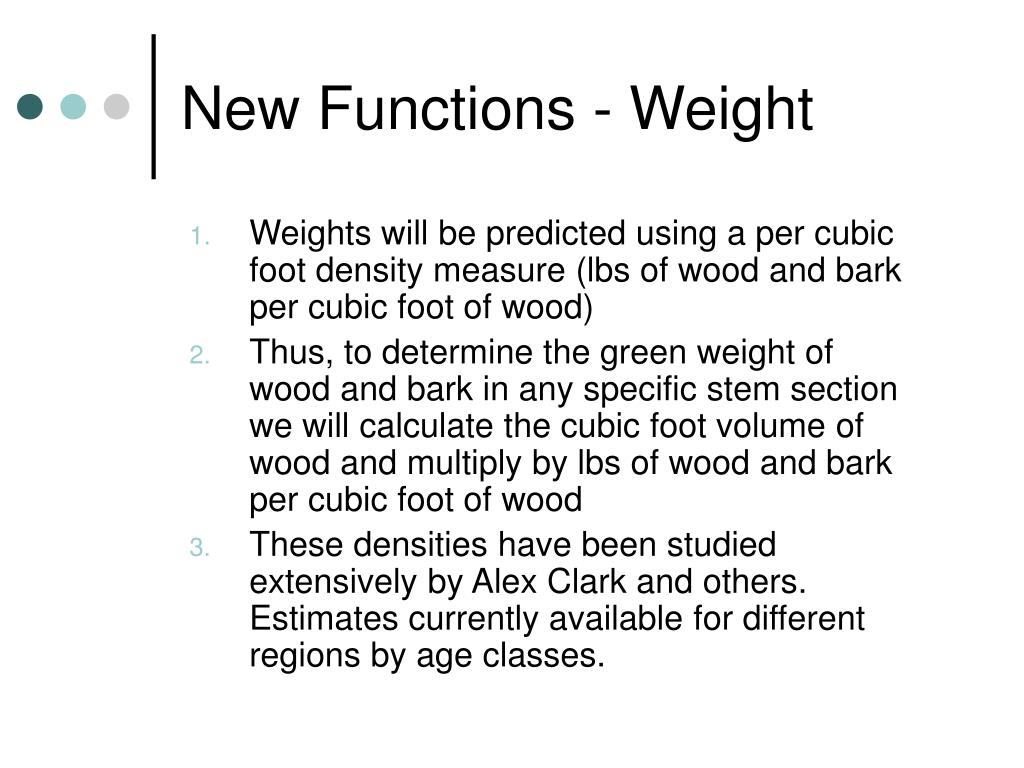 New Functions - Weight