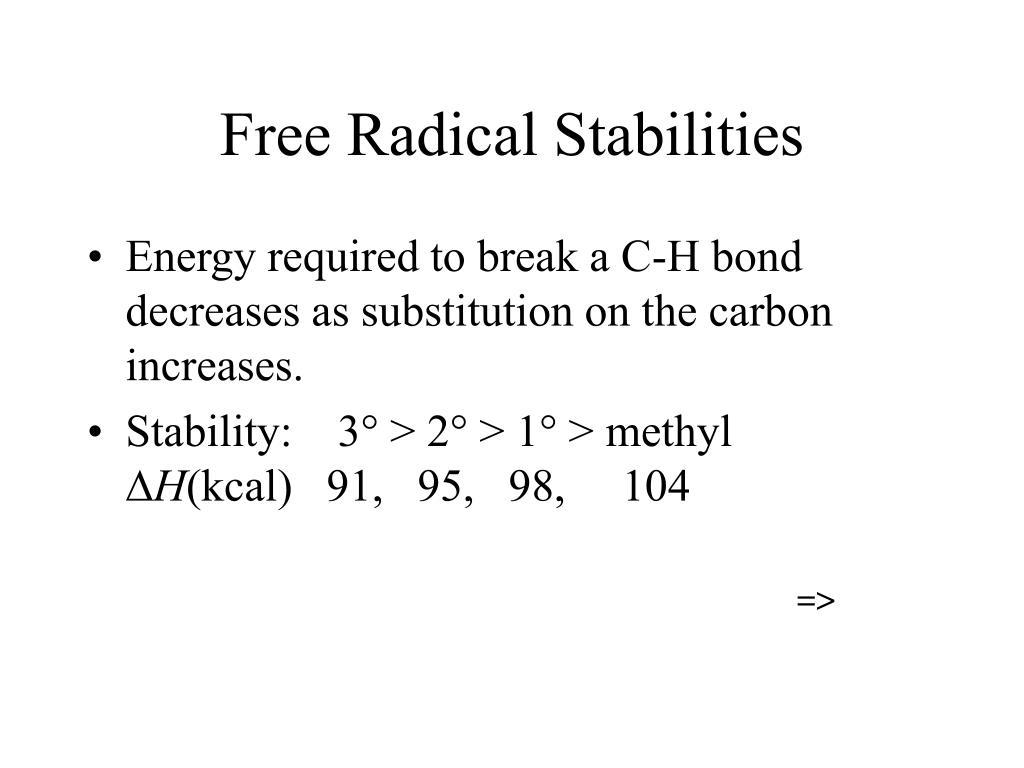 Free Radical Stabilities