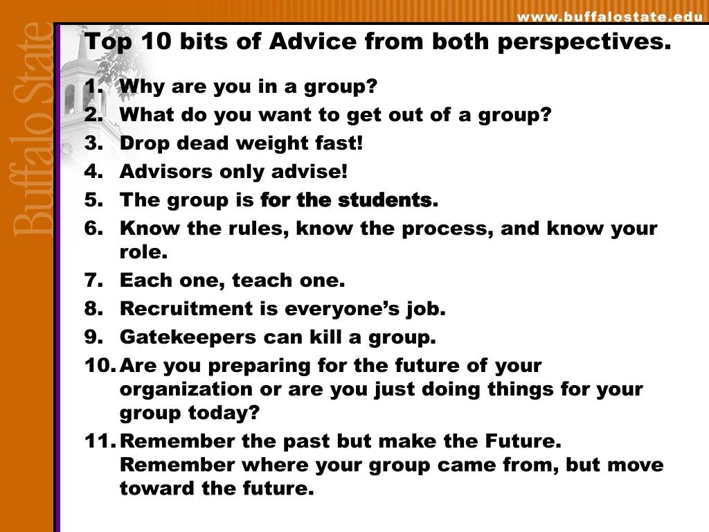 Top 10 bits of Advice from both perspectives.
