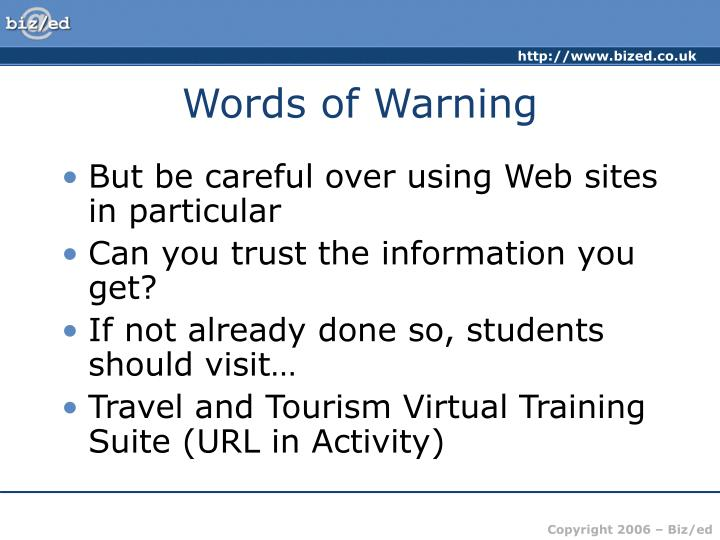 Words of Warning