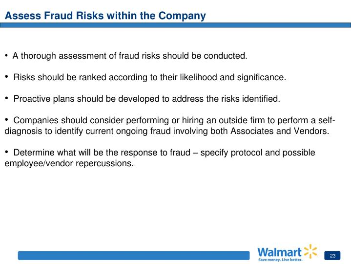 Assess Fraud Risks within the Company