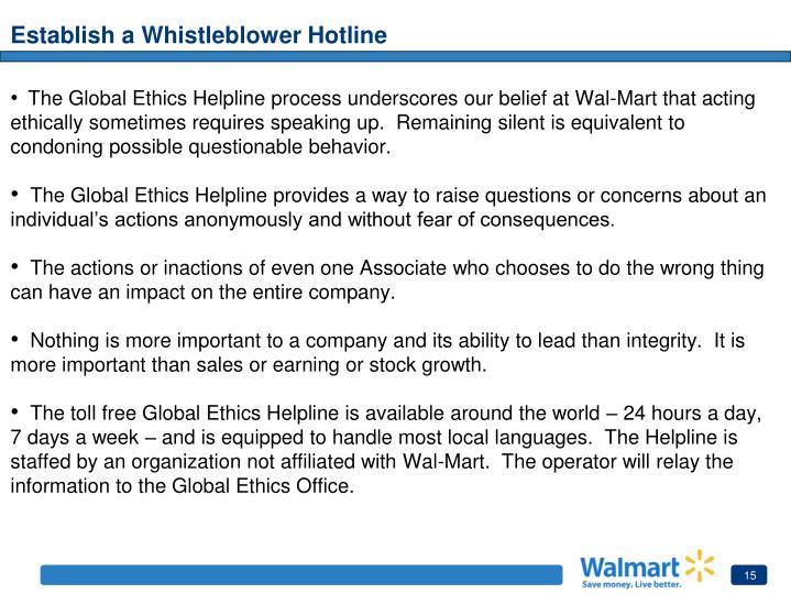 Establish a Whistleblower Hotline