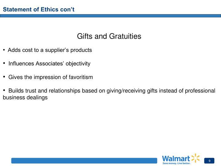 Statement of Ethics con't