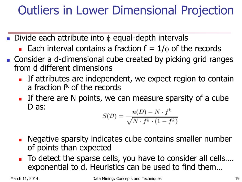 Outliers in Lower Dimensional Projection