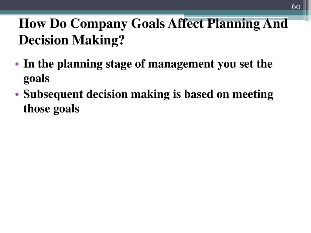 How Do Company Goals Affect Planning And Decision Making?