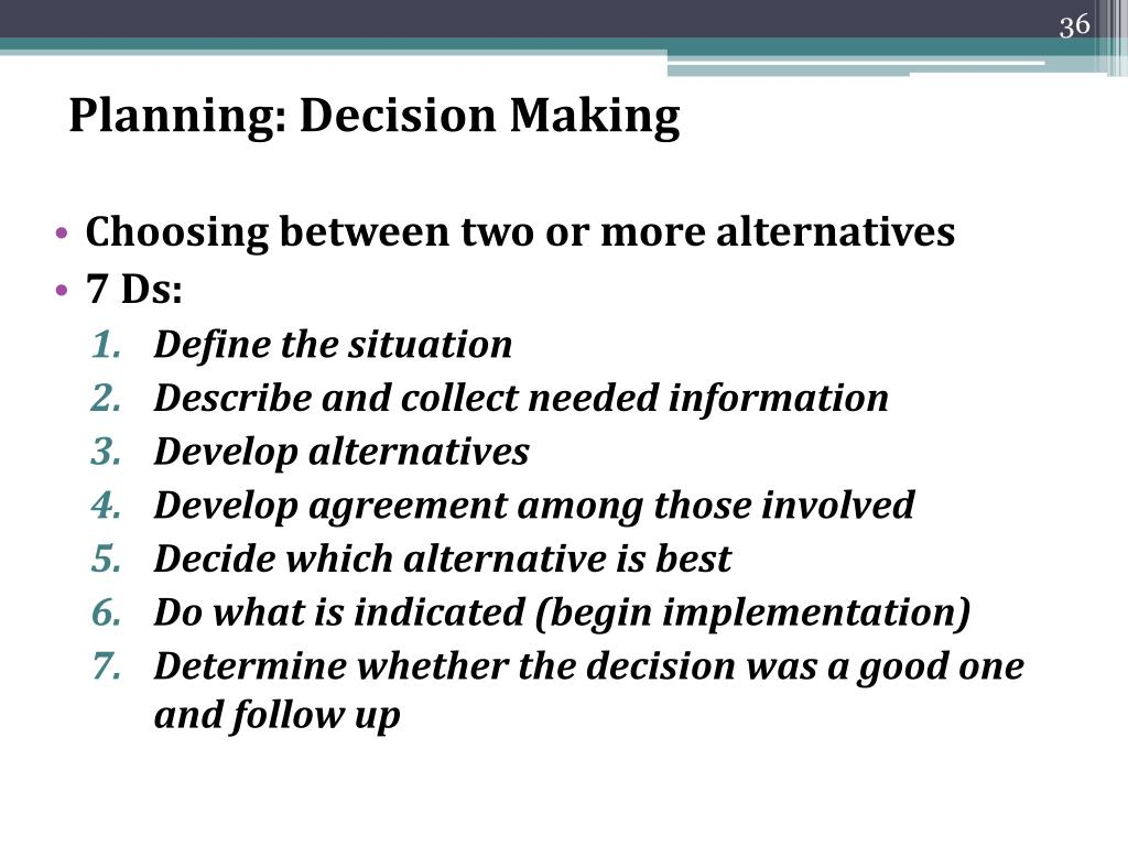 Planning: Decision Making