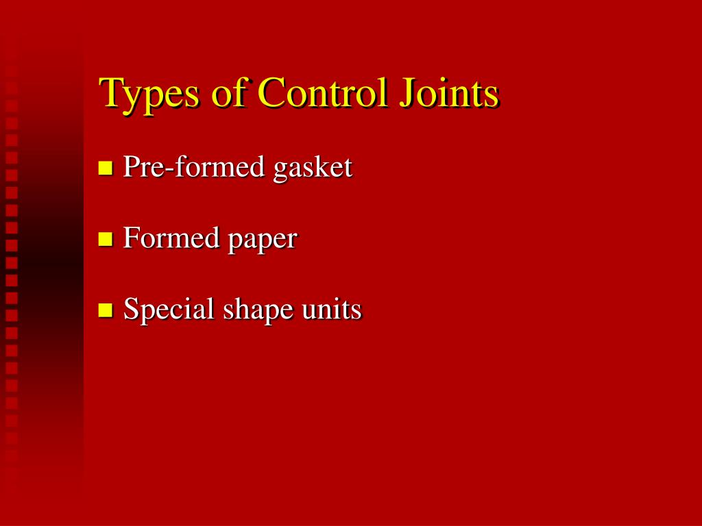 Types of Control Joints