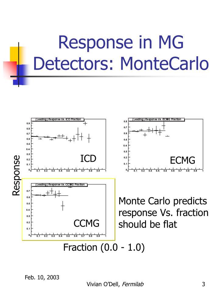 Response in mg detectors montecarlo