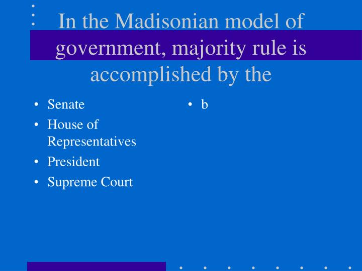 madisonian majorities essay What is madisonian democracy save cancel already exists would you like to merge this question into it merge cancel already exists as an alternate of this.