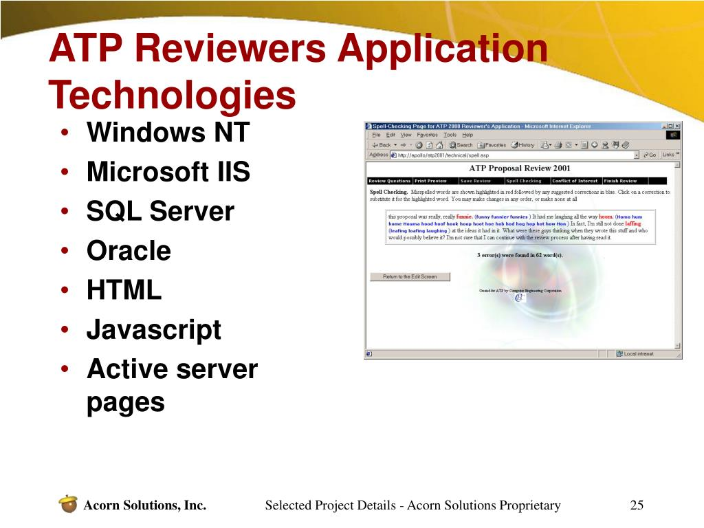 ATP Reviewers Application Technologies