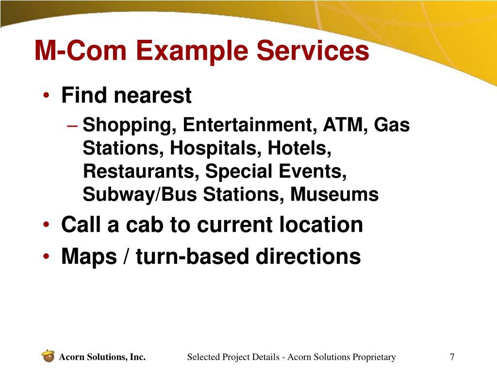 M-Com Example Services